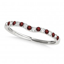 Diamond & Garnet Contoured Wedding Band 18k White Gold (0.11ct)
