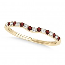 Diamond & Garnet Contoured Wedding Band 18k Yellow Gold (0.11ct)