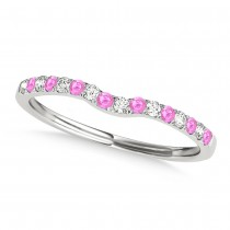 Diamond & Pink Sapphire Contoured Wedding Band 18k White Gold (0.11ct)