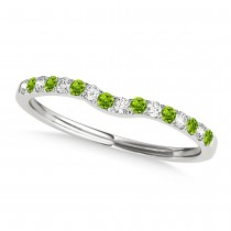 Diamond & Peridot Contoured Wedding Band 14k White Gold (0.11ct)