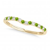 Diamond & Peridot Contoured Wedding Band 14k Yellow Gold (0.11ct)