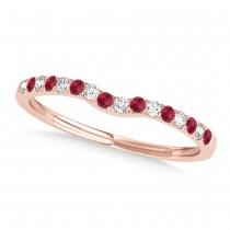 Diamond & Ruby Contoured Wedding Band 14k Rose Gold (0.11ct)