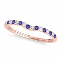 Diamond & Tanzanite Contoured Wedding Band 18k Rose Gold (0.11ct)