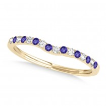 Diamond & Tanzanite Contoured Wedding Band 18k Yellow Gold (0.11ct)