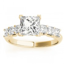 Diamond Princess Cut Engagement Ring 14k Yellow Gold (0.60ct)