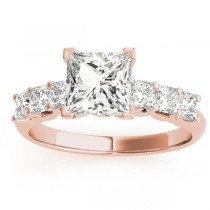 Diamond Princess Cut Engagement Ring 18k Rose Gold (0.60ct)
