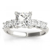 Diamond Princess Cut Engagement Ring 18k White Gold (0.60ct)