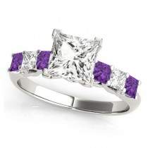 Princess Moissanite Amethysts & Diamonds Engagement Ring 14k White Gold (2.10ct)
