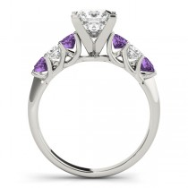 Princess Moissanite Amethysts & Diamonds Engagement Ring 14k White Gold (2.10ct)|escape