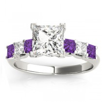 Princess Diamond & Amethyst Engagement Ring 14k White Gold 0.60ct