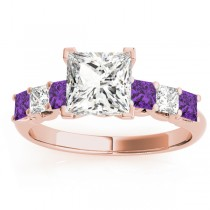 Princess Diamond & Amethyst Engagement Ring 18k Rose Gold 0.60ct