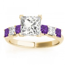 Princess Diamond & Amethyst Engagement Ring 18k Yellow Gold 0.60ct