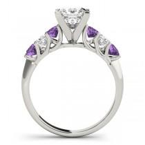 Princess Diamond & Amethyst Engagement Ring Platinum 0.60ct