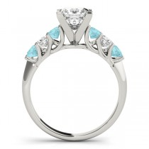 Princess Diamond & Aquamarine Engagement Ring 14k White Gold 0.60ct