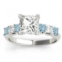 Princess Diamond & Aquamarine Engagement Ring 18k White Gold 0.60ct