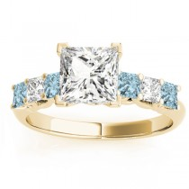 Princess Diamond & Aquamarine Engagement Ring 18k Yellow Gold 0.60ct