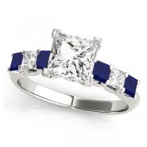 Princess Moissanite Blue Sapphires & Diamonds Engagement Ring 18k White Gold (2.10ct)