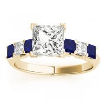 Princess Diamond & Blue Sapphire Engagement Ring 18k Yellow Gold 0.60ct