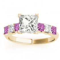 Princess Diamond & Pink Sapphire Engagement Ring 14k Yellow Gold 0.60ct