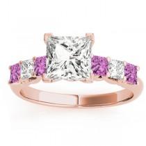 Princess Diamond & Pink Sapphire Engagement Ring 18k Rose Gold 0.60ct