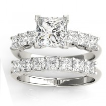 Diamond Princess cut Bridal Set Ring 14k White Gold (1.30ct)