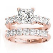 Diamond Princess cut Bridal Set Ring 18k Rose Gold (1.30ct)