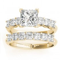 Diamond Princess cut Bridal Set Ring 18k Yellow Gold (1.30ct)