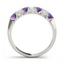 Princess cut Diamond & Amethyst Bridal Set 14k White Gold 1.30ct