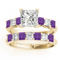 Princess cut Diamond & Amethyst Bridal Set 14k Yellow Gold 1.30ct