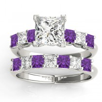 Princess cut Diamond & Amethyst Bridal Set 18k White Gold 1.30ct