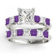Princess cut Diamond & Amethyst Bridal Set Platinum 1.30ct