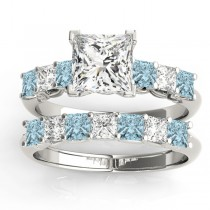 Princess cut Diamond & Aquamarine Bridal Set 14k White Gold 1.30ct
