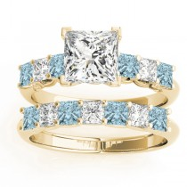 Princess cut Diamond & Aquamarine Bridal Set 14k Yellow Gold 1.30ct