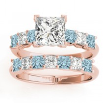 Princess cut Diamond & Aquamarine Bridal Set 18k Rose Gold 1.30ct