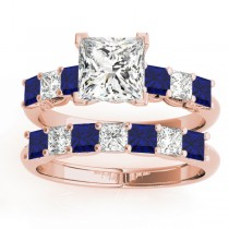 Princess cut Diamond & Blue Sapphire Bridal Set 14k Rose Gold 1.30ct