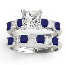 Princess cut Diamond & Blue Sapphire Bridal Set 14k White Gold 1.30ct