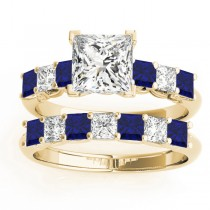 Princess cut Diamond & Blue Sapphire Bridal Set 18k Yellow Gold 1.30ct