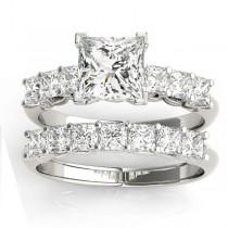 Diamond Princess cut Bridal Set Ring Palladium (1.30ct)