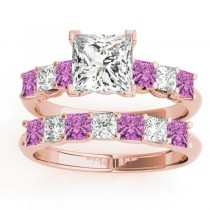 Princess cut Diamond & Pink Sapphire Bridal Set 18k Rose Gold 1.30ct