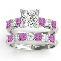 Princess cut Diamond & Pink Sapphire Bridal Set 18k White Gold 1.30ct