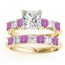 Princess cut Diamond & Pink Sapphire Bridal Set 18k Yellow Gold 1.30ct