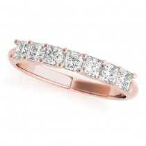 Diamond Princess-cut Wedding Band Ring 18k Rose Gold 0.70ct
