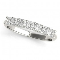 Diamond Princess-cut Wedding Band Ring 18k White Gold 0.70ct