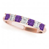 Diamond & Amethyst Princess Wedding Band Ring 18k Rose Gold 0.70ct