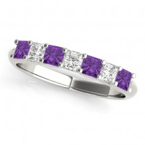 Diamond & Amethyst Princess Wedding Band Ring 18k White Gold 0.70ct