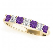 Diamond & Amethyst Princess Wedding Band Ring 18k Yellow Gold 0.70ct