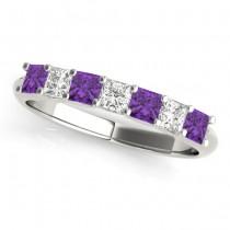 Diamond and Amethyst Princess-cut Wedding Band Setting Platinum 0.70ct