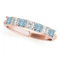 Diamond & Aquamarine Princess Wedding Band Ring 18k Rose Gold 0.70ct