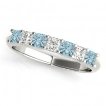 Diamond & Aquamarine Princess Wedding Band Ring 18k White Gold 0.70ct
