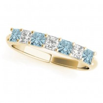 Diamond & Aquamarine Princess Wedding Band Ring 18k Yellow Gold 0.70ct